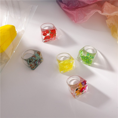 Korean resin transparent fruit square ring  NHMS330841's discount tags