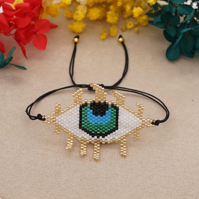 Miyuki bead weaving handmade blue eyes bracelet NHGW330867
