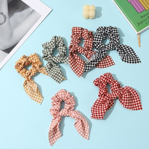 fashion houndstooth ribbon hair scrunchies NHCL330891
