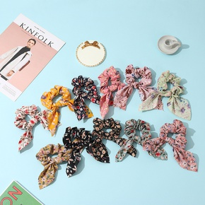 Retro Fabric Bowknot Ribbon Floral Hair Scrunchies NHCL330893