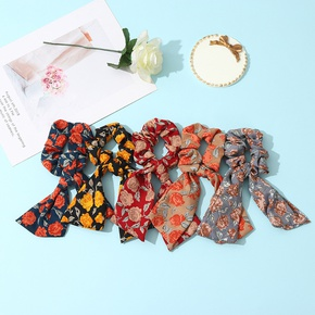 retro rose floral streamer hair scrunchies NHCL330897