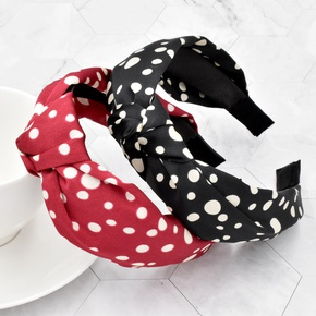 Fashion silk fabric polka dot knotted headband NHCL330901