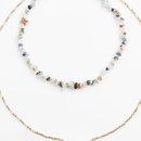 Bohemian long gravel geometric multilayer necklace NHLA330911
