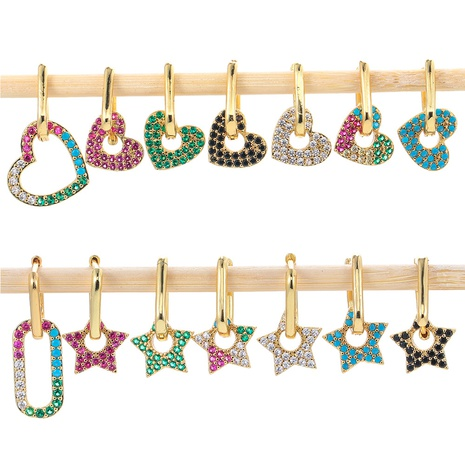 fashion five-pointed star square lock earrings  NHWG330622's discount tags
