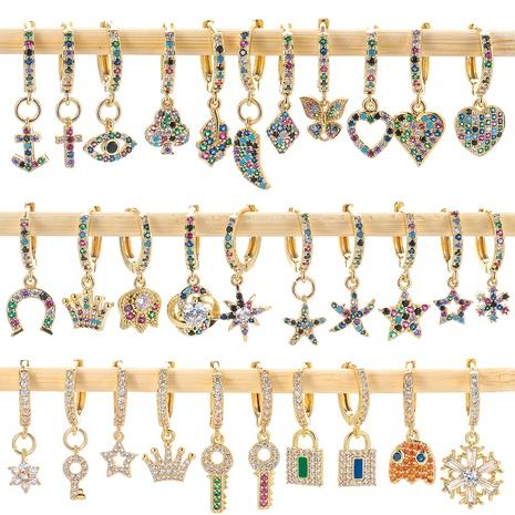 fashion key type diamond zircon earrings  NHWG330630's discount tags