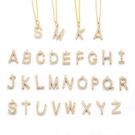 Fashion 26 English letter necklace wholesale NHWG330647's discount tags