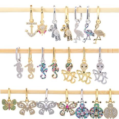 hollow butterfly full diamond zircon earrings wholesale NHWG330648's discount tags