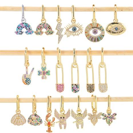 micro-inlaid zircon rainbow bridge earrings NHWG330655's discount tags