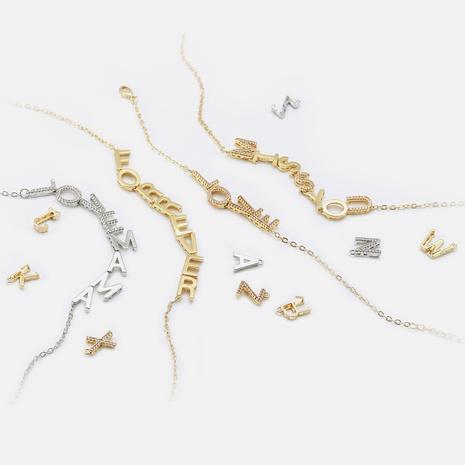 Fashion zircon 26 letter copper accessories wholesale NHWV330737's discount tags