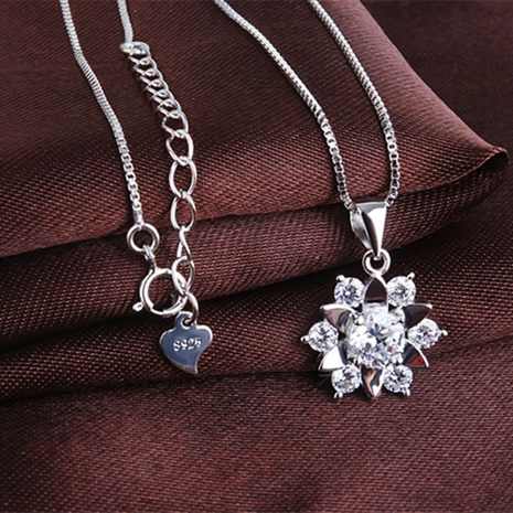 S925 Silver korean new Lotus Necklace  NHKL330937's discount tags