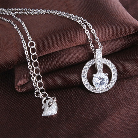 S925 Sterling Silver korean circle Diamond Pendant necklace NHKL330938's discount tags