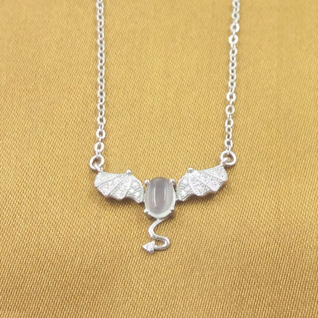 S925 pure silver devil Moonstone necklace NHKL330941's discount tags