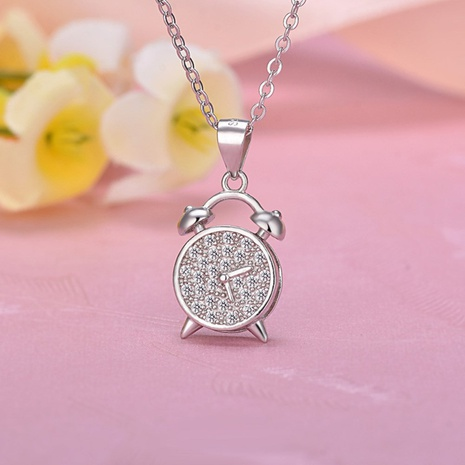 s925 Silver alarm clock Necklace NHKL330942's discount tags