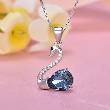 S925 Sterling Silver Fashion Swan Necklace NHKL330945's discount tags