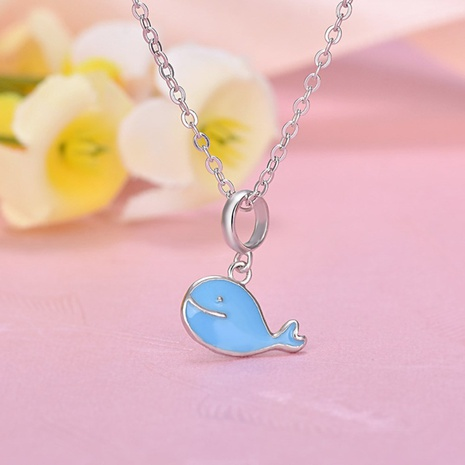 S925 Silver korean rubber drop Blue Dolphin Necklace NHKL330947's discount tags