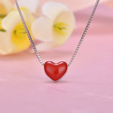 S925 Silver korean rubber drop love necklace NHKL330948's discount tags