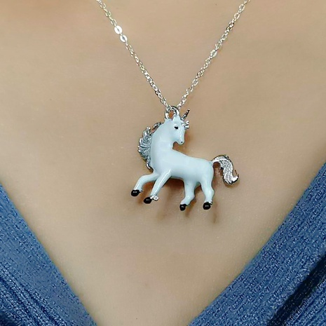 S925 silver Unicorn Necklace  NHKL330949's discount tags