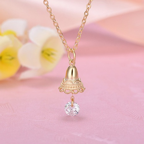 S925 Sterling Silver korean Christmas bell diamond necklace NHKL330951's discount tags