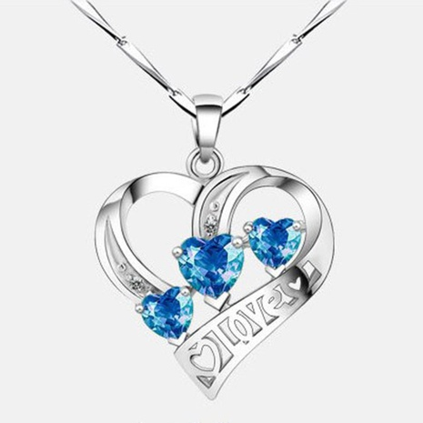 Korean blue three heart-shape diamond necklace NHKL331031's discount tags