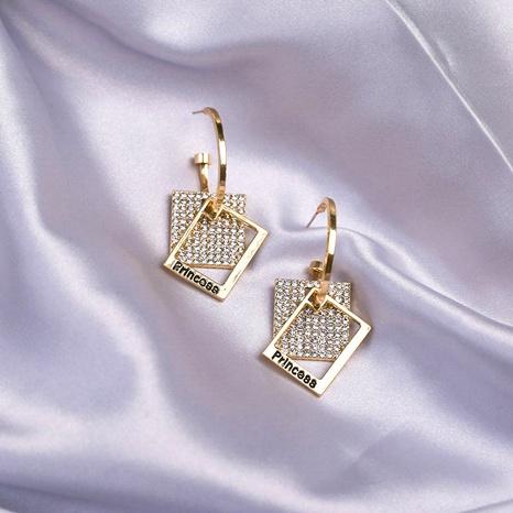 Exaggerated geometric square full diamond big earrings NHQC331093's discount tags