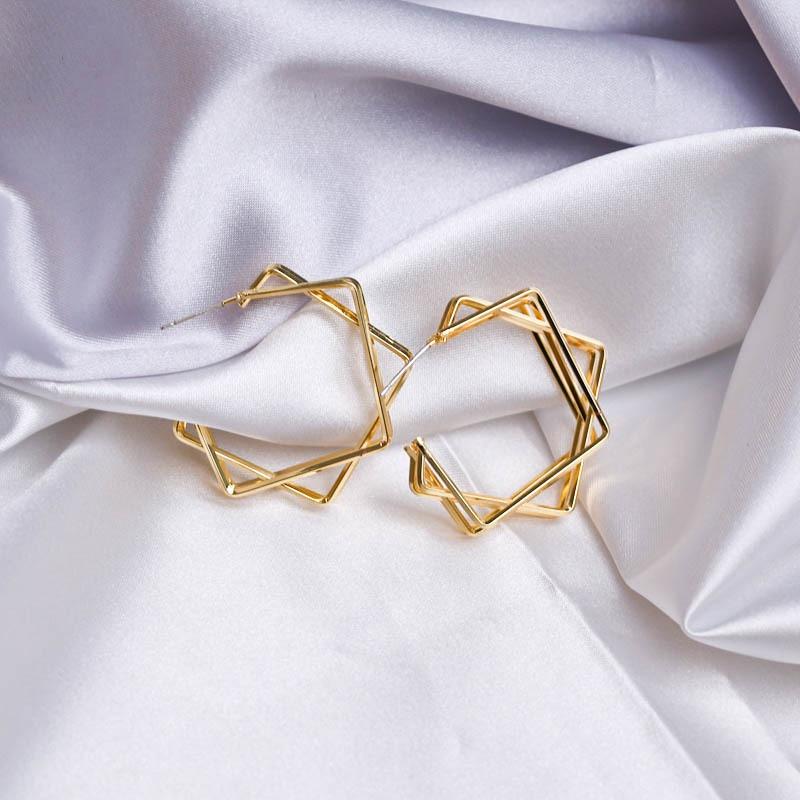 Geometry metal exaggerated big hoop earrings  NHQC331092