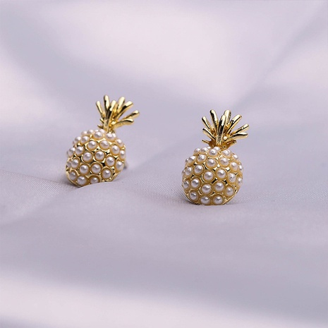 925 silver needle pineapple pearl earrings wholesale NHQC331091's discount tags