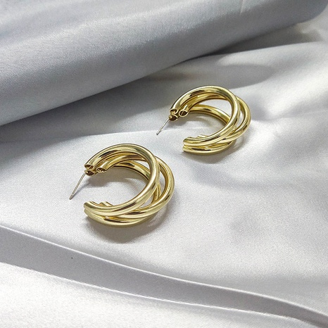 Exaggerated metal round hoop earrings 925 silver needle earrings  NHQC331090's discount tags