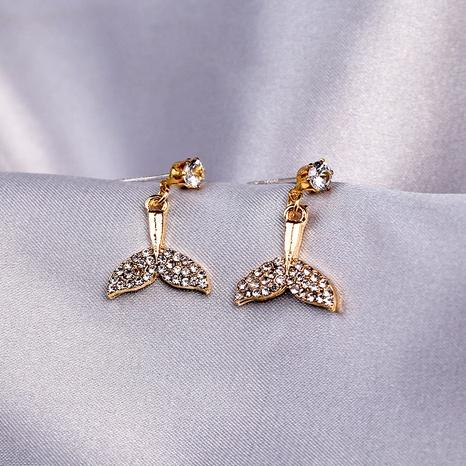 S925 Silver Needle Diamond Fishtail Earrings Mermaid Tail Earrings NHQC331089's discount tags