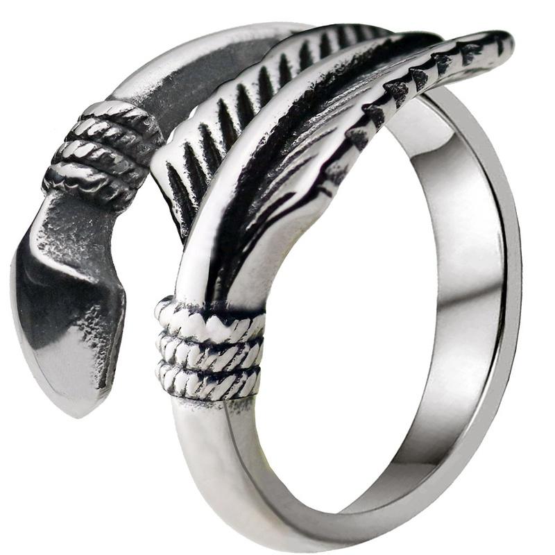 Retro dreifarbiger geometrischer Ring NHACH329431