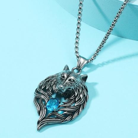Retro Diamant besetzte Wolfskopf Anhänger Halskette NHACH329457's discount tags