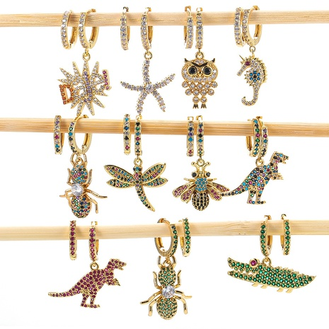 micro-inlaid zircon colorful dinosaur animal insect earrings NHWG330688's discount tags