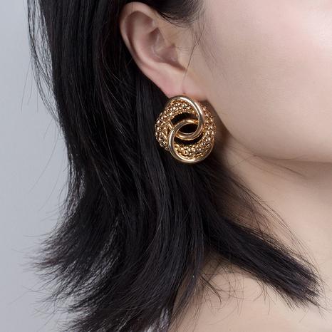 Boucles d'oreilles en métal rondes à la mode en gros NHRN334044's discount tags