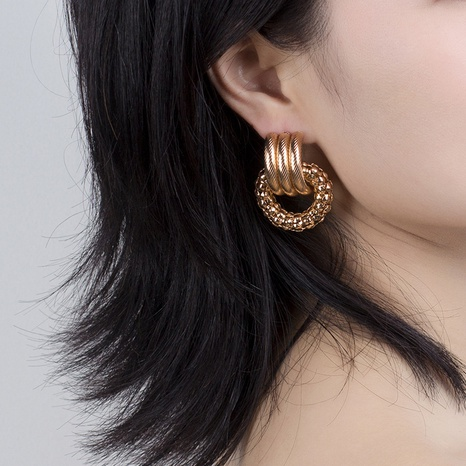 Fashion geometric circle metal earrings wholesale NHRN334045's discount tags