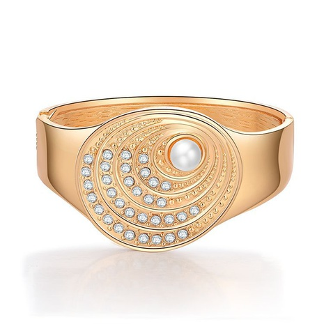 Retro fan-shaped diamond-studded pearl wide-sided bracelet NHBD334051's discount tags