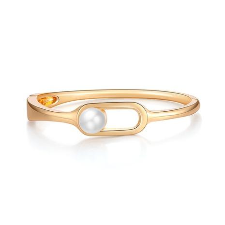 Fashion geometric pearl alloy glossy bracelets NHBD334053's discount tags