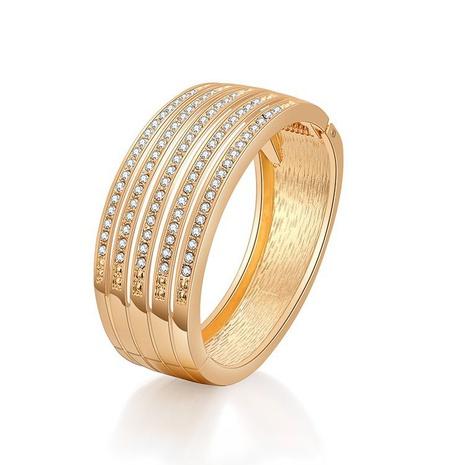 Bracelet fantaisie plaqué diamant creux à larges côtés NHBD334054's discount tags