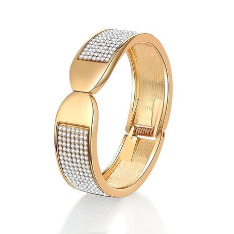 Fashion Full Diamond Spring Open Alloy Bracelet NHBD334057's discount tags