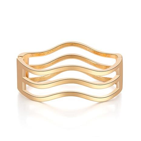 Bracelet multicouche ouvert creux simple brillant vague irrégulière NHBD334060's discount tags