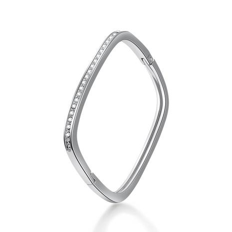 Simple square diamond alloy bracelet NHBD334064's discount tags