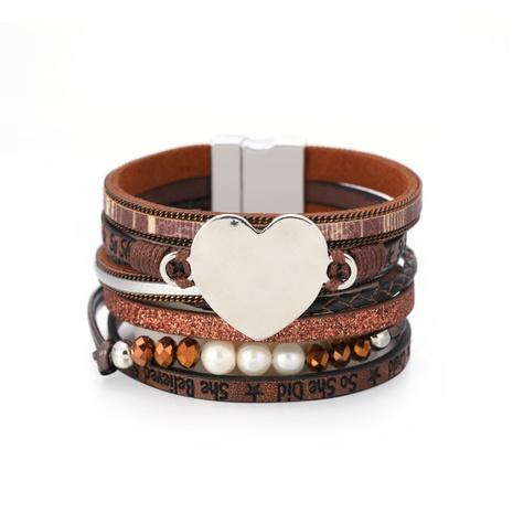 Modisches mehrschichtiges herzförmiges Perlenlederarmband NHBD334068's discount tags