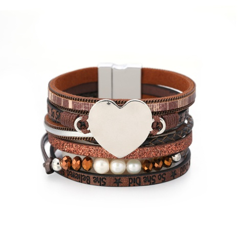 Fashion multi-layer heart-shape pearl leather bracelet NHBD334068's discount tags