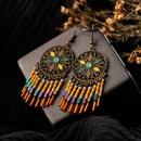Bohemian big hoop tassel alloy earrings NHAKJ334073