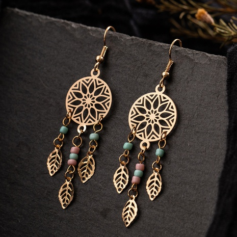 Fashion hollow pattern tassel alloy earrings wholesale NHAKJ334083's discount tags