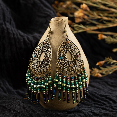 Fashion miyuki beads hollow carved tassel earrings NHAKJ334084's discount tags