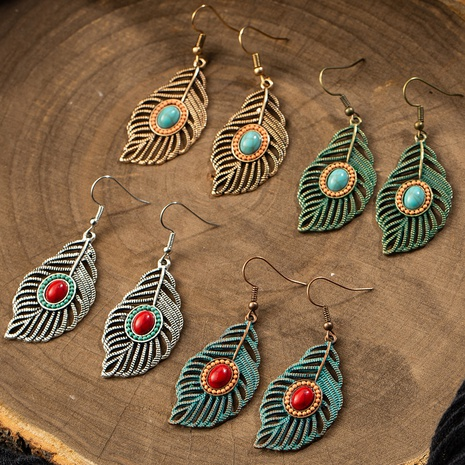 Retro Hollow Leaf Alloy Earrings NHAKJ334085's discount tags