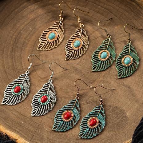 Boucles d'oreilles rétro en alliage de feuilles creuses NHAKJ334085's discount tags
