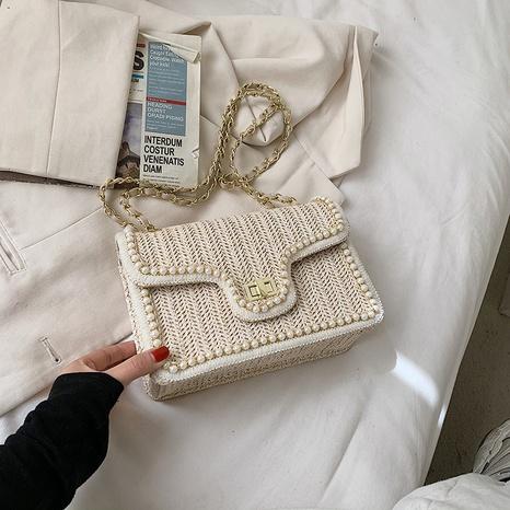 Petit sac carré de messager d'épaule de chaîne de perles tissées de paille de mode NHLH334153's discount tags