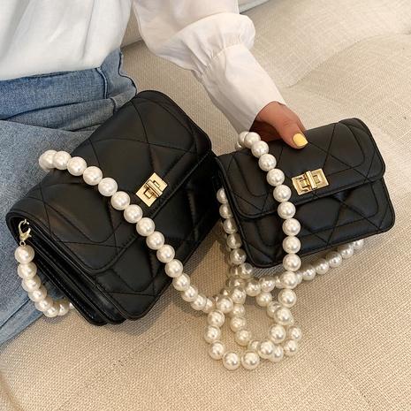 Fil de broderie de mode losange chaîne de perles épaule messenger petit sac carré NHLH334163's discount tags