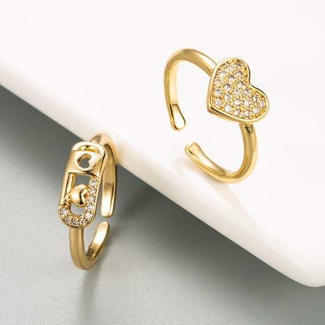 Fashion Golden Heart Open Copper Ring NHLN334300's discount tags