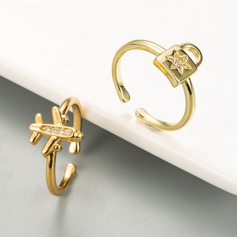 Fashion small plane opening copper inlaid zircon ring NHLN334301's discount tags